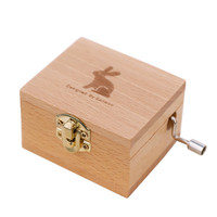 Hot stamping logo custom song beech Wood note hand crank baby wood music box
