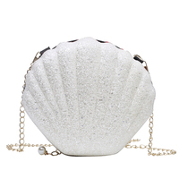 New design glitter colorful purse mini pu leather shell girls lady cross body shoulder bag with chain