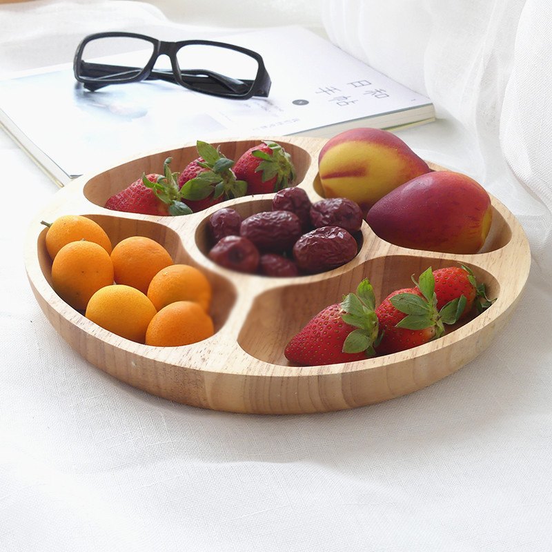 Japanese solid wood grading fruit plate creative five pattern melon seeds candy tray rubber wood snack dish nut plate