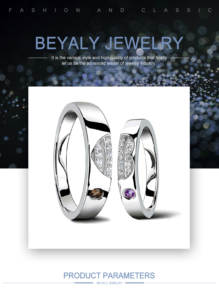 product-BEYALY-Beauty Heart Design Couple Anniversary Silver Solitaire Rings-img