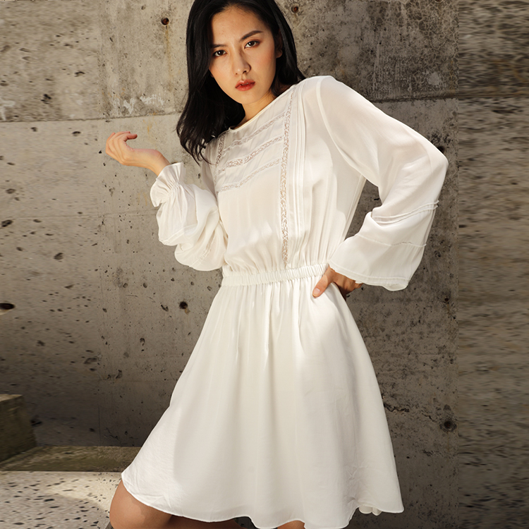 Solid Midi Knee Length White Casual Clothes Clothing Lace Lady Women High Quantity  Dress Long Sleeve