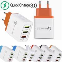 3USB 3 Ports QC3.0 Quick wall Charger Smart QC 3.0 USB fast charging 18W Adapter For SAMSUNG IPHONE HUAWEI xiaomi