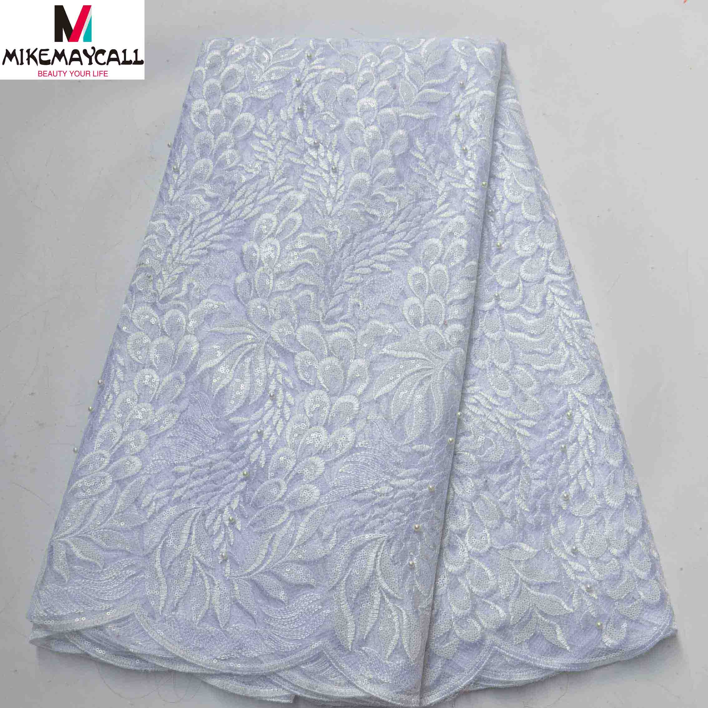 Pure white Color French Cord Lace Silk Chiffon Fabric With Shiny Sequins
