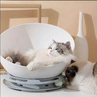 Turntable open pet cat house bed