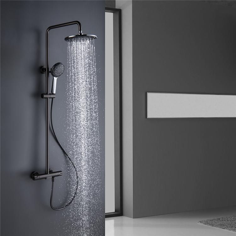 HIDEEP Wall Mounted Bathroom Bath Gray Shower Mixer Set Thermostatic Rain Shower Faucet