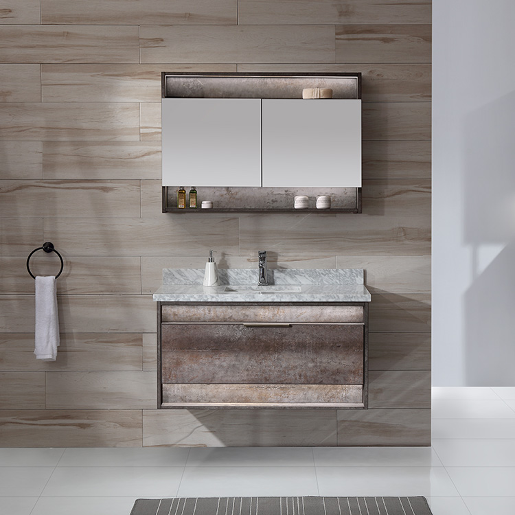 OEM New Design Sink Bath Combo Vanity Furniture 42 Inch Bathroom Wall Mount Cabinet With LED Mirror