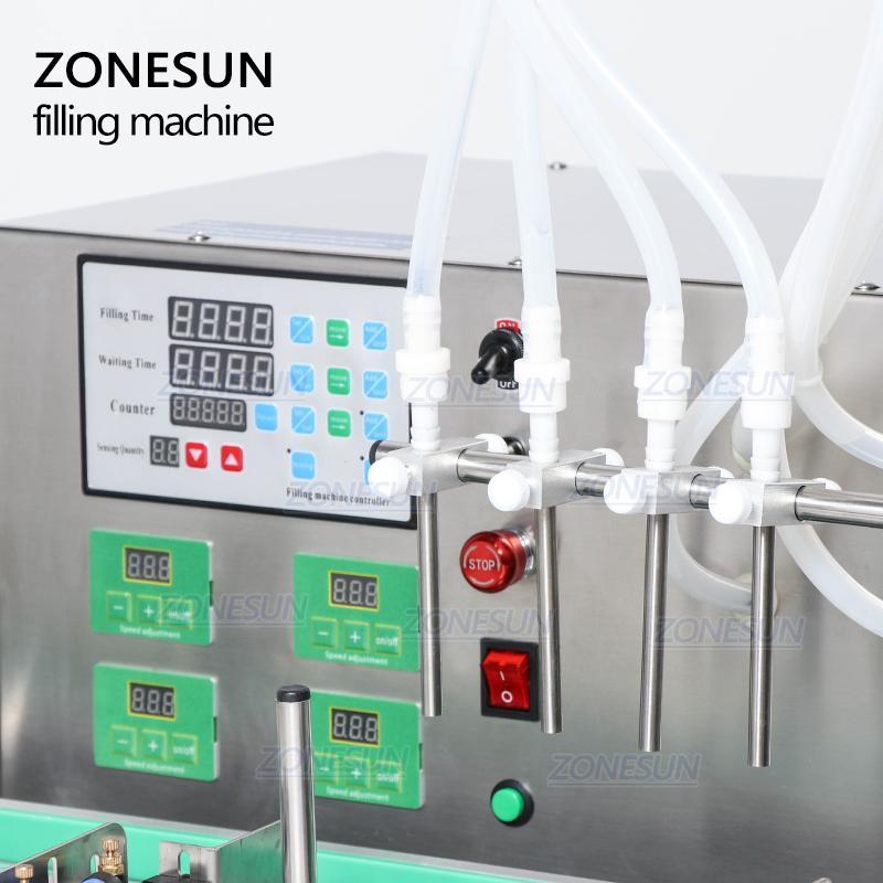 ZONESUN Semi Automatic Desktop CNC Liquid Filling Machine With Conveyor 110V-220V For Perfume Filling Machine Water Filler