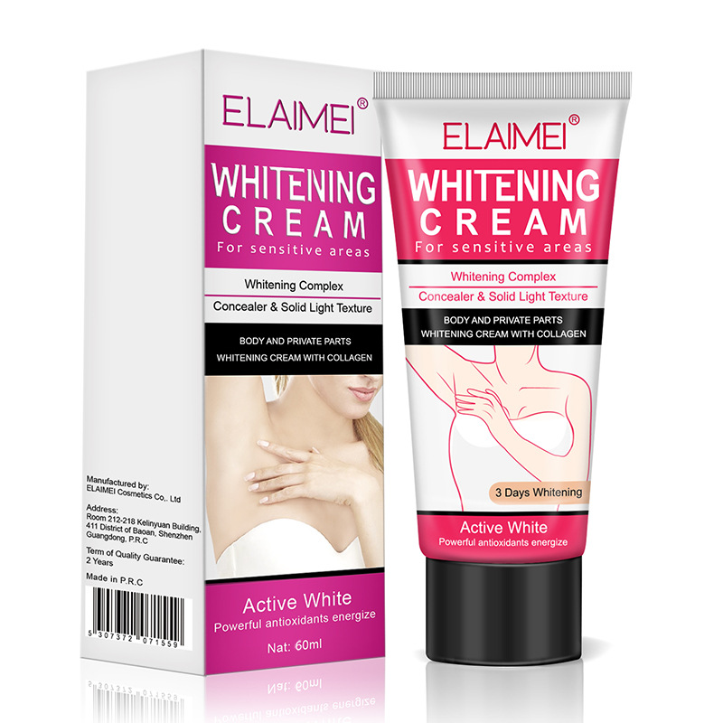 ELAIMEI female Private Parts sensitive areas Collagen Hyaluronic Acid Whitening <strong>Cream</strong> Brightening <strong>Body</strong> Concealer 60ml OEM
