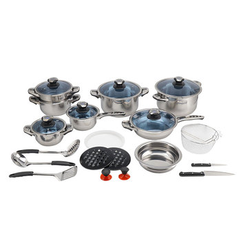Kitchenware Steel Stock Pot 25Pcs Stainless Steel Cookware Set Gift Set Cooking Pan Set With Blue Glass Lid