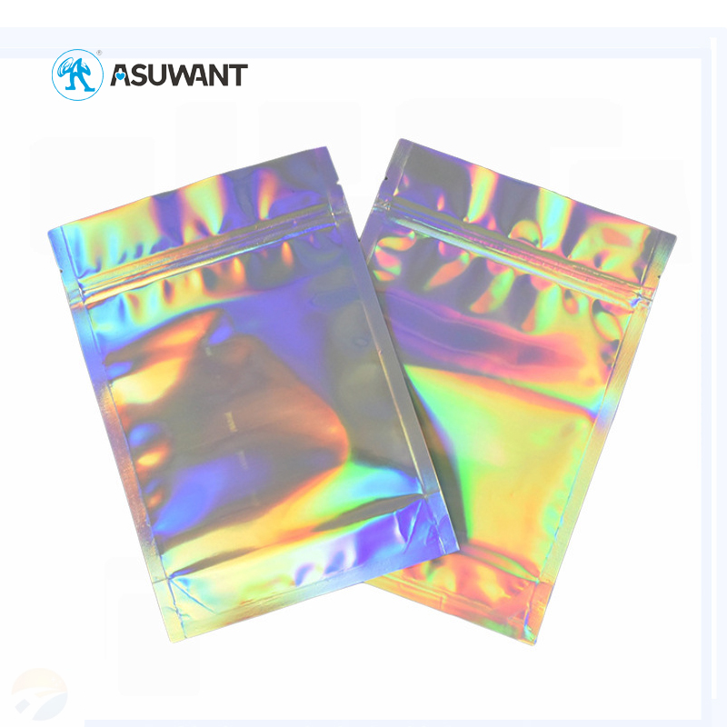 Holographic Individually Wrapped Zipper Stand Up Coffee Tea Pouch Kraft Paper Bag For Food Packaging