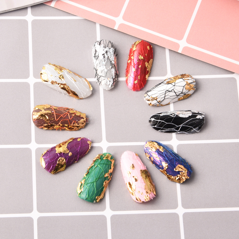 Snake skin pattern nail sticker nail art decoration holographic gold and silver color lace mesh decal