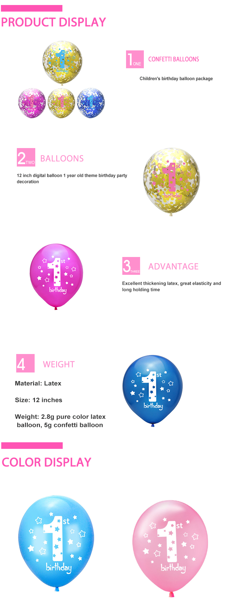 New Arrival 2.8g Quality 1st Birthday Baby Shower 12 Inch Confetti Latex Balloon For 1st Baby
