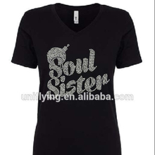 Custom Bling Words Soul Sister Rhinestone Hotfix Iron On Crystal Transfers For T-shirt