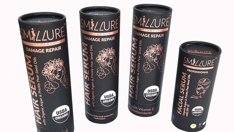Amostra de desenho livre barato personalizado eco friendly tubo cosmético Beleza paper embalagem do cilindro de papelão de luxo preto