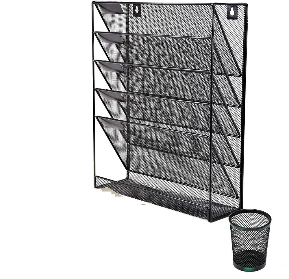 Wideny office & home wire metal desk storage holder mesh Black Hanging wall mounted file document paper Organizer
