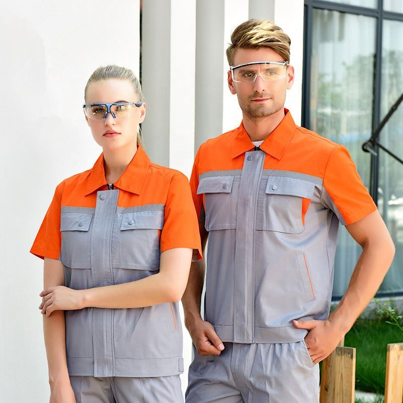 Workshop Uniform Women Men Work Clothing Cotton Labor Short Sleeve Shirt Workpants Two Piece Set Workwear custom