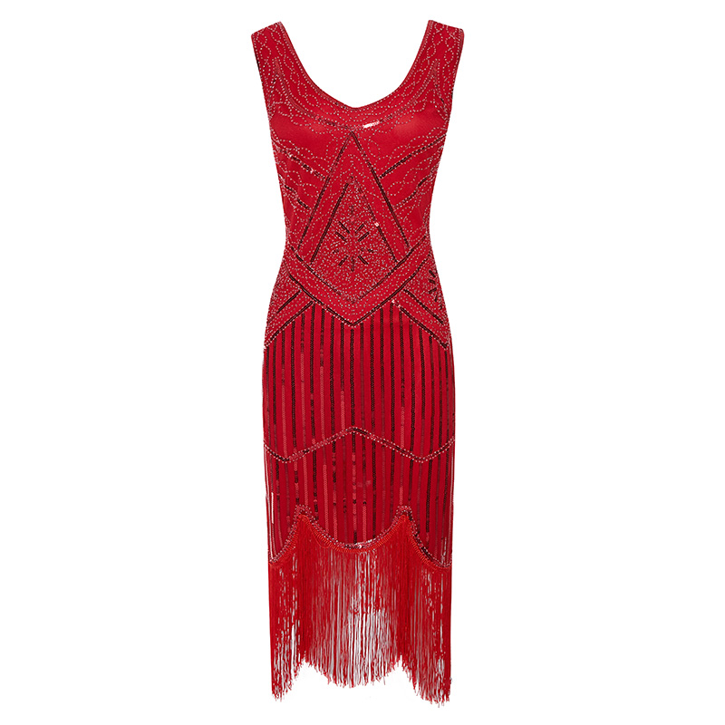 Ecoparty Art Deco Great Gatsby <strong>Inspired</strong> Tassel Beaded 1920s Flapper Cocktail Party <strong>Dress</strong>