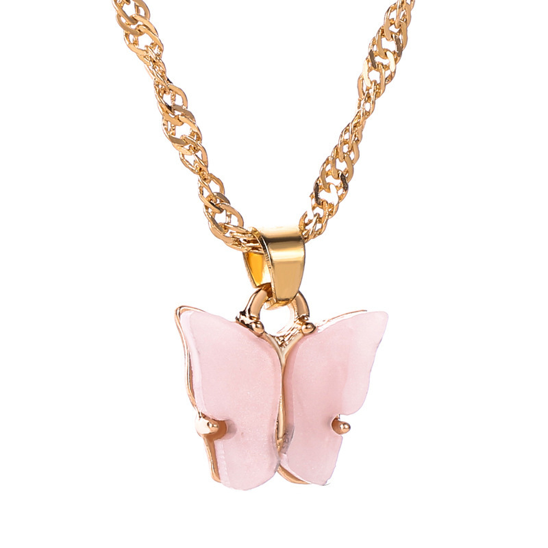 HOVANCI 2020 Newest Personalized Women Colorful Butterfly Pendant Necklace Clavicle Chain Acrylic Butterfly Choker Necklace