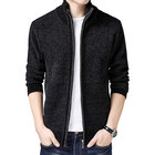 Men's Solid Slim Fit Long Sleeve Zip Up Knit Cardigan Jumper Sweater with Pocket