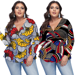 High Quality Floral Printing Refreshing Clothes Ladies Plus Size Shirts Women Tops Blouses