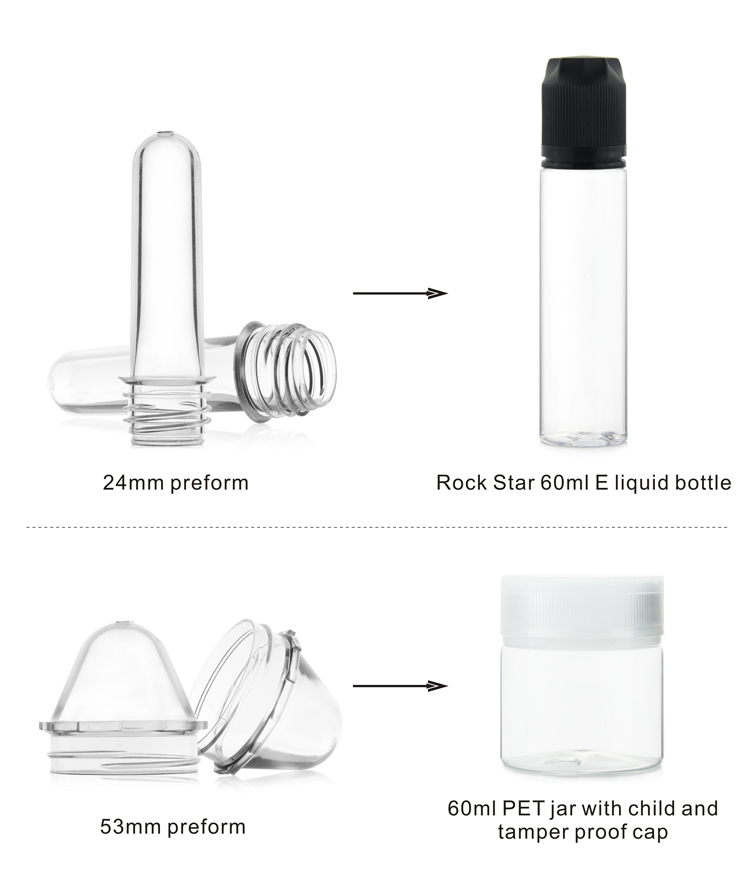 Wholesale factory 12mm e juice bottle pet preform