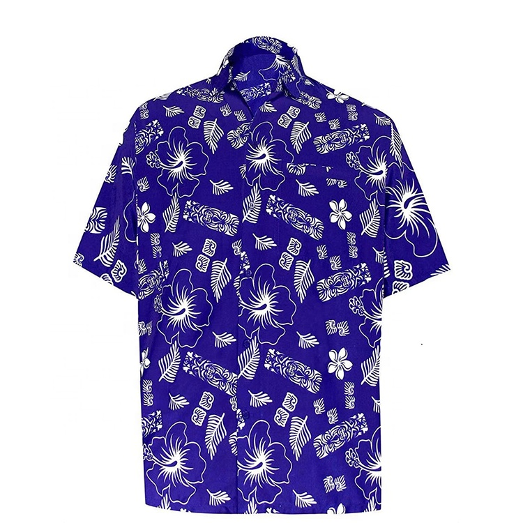 Customize bangkok poplin casual cotton men's shirt for summer hawaiian print shirt beach