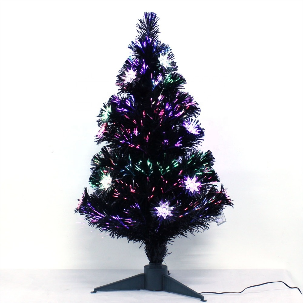 6' Noble Berries Pre Lit Falling Snow Cone LED Fiber Optic Pine Christmas Tree with Plastic Christmas Baubles