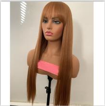 """Парики из натуральных волос на кружеве KADOYEE, бразильские волосы Remy 13x4 """", прямые парики с челкой 8""""-26 """", 130% плотность 150%(Китай)"""