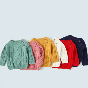 solid cable knitted thickening knit baby sweaters winter baby clothes kids pullovers