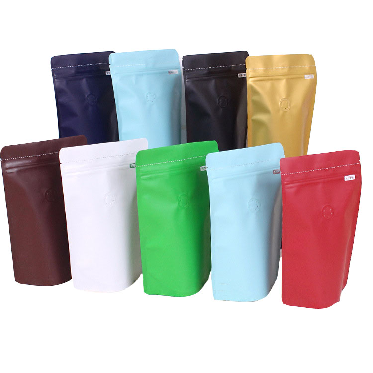 Hot sale package food grade black matt surface coffee bag with valve foil ziplock coffee pouch