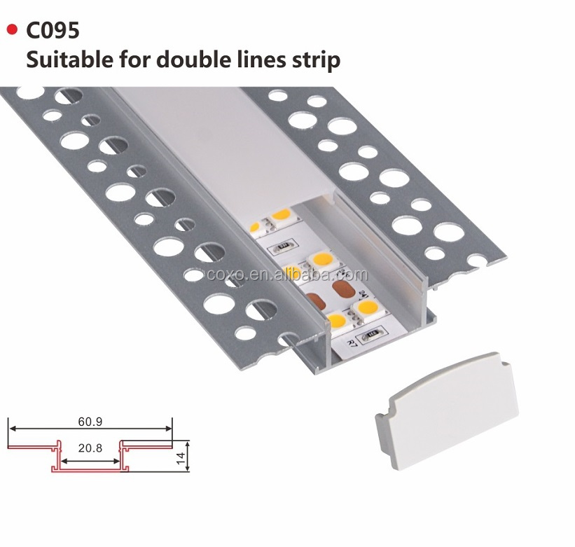 Drywall use architectural gypsum plaster led aluminium profile