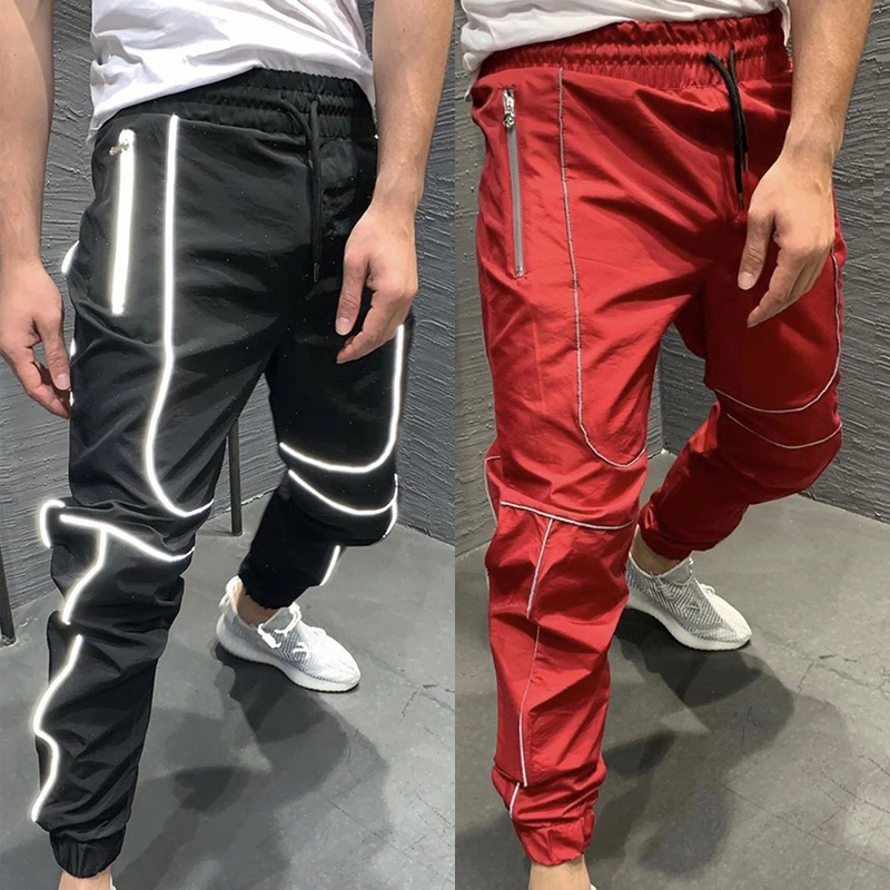 Harem Pants Streetwear Reflective Track Pant Sweatpants Summer Joggers Men