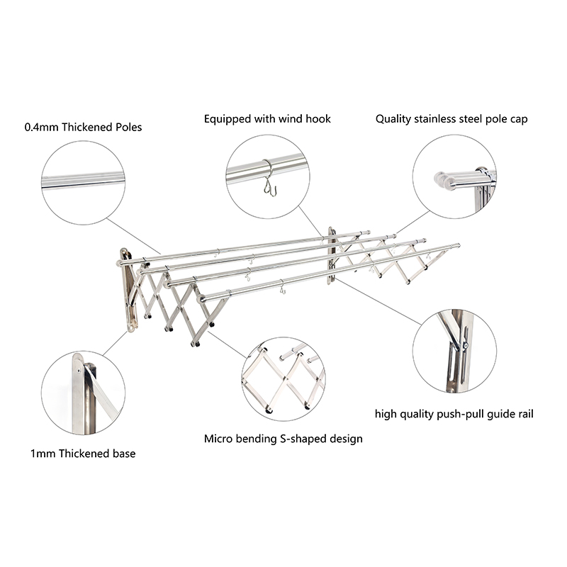 Customized 3&4 poles Clothes Hanger rack Stainless Steel cloth dryer rack clothes drying wall mounted clothes drying rack