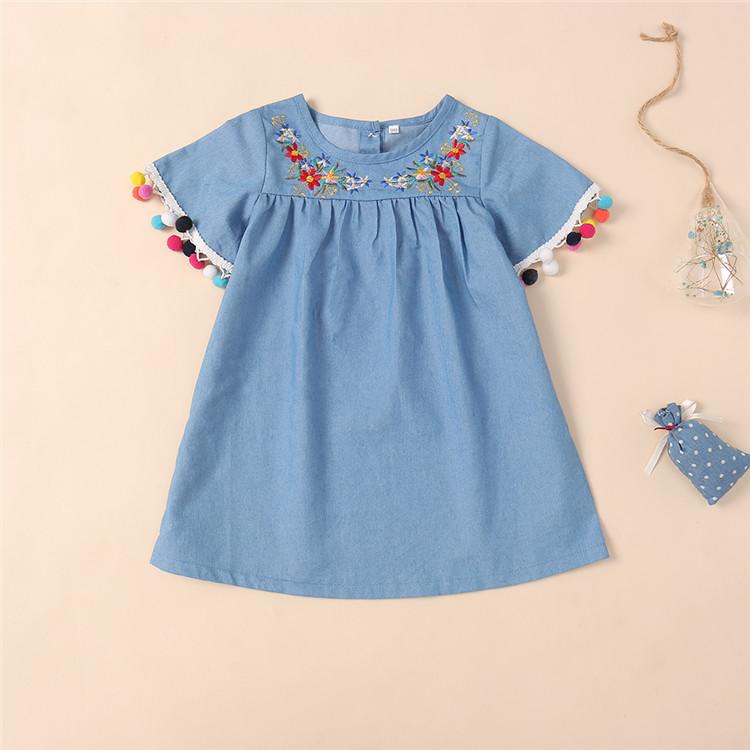 Princess Dress Dragonfly Embroidery Flower Denim Dress Tutu Clothes For Girls