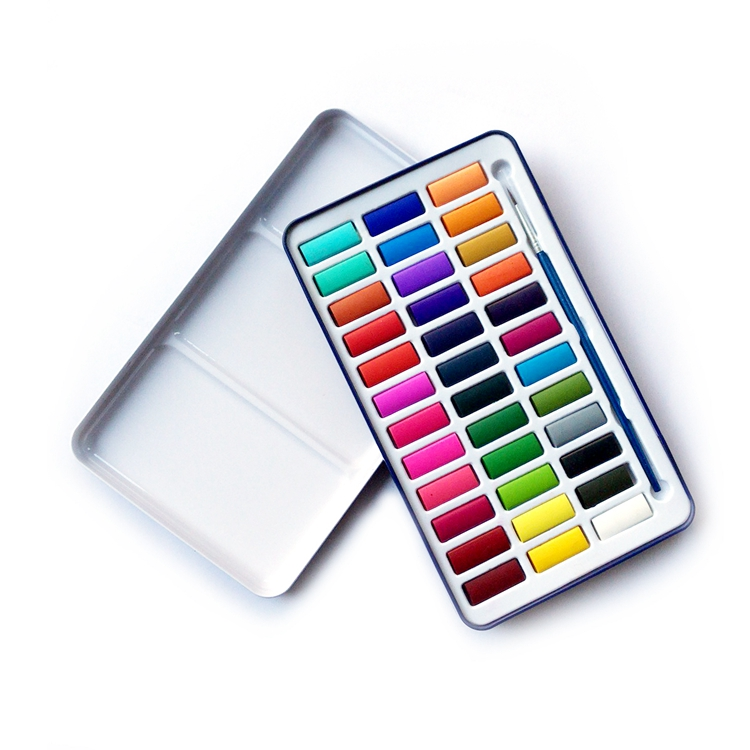 36 colors solid watercolor paint set with blue tin box