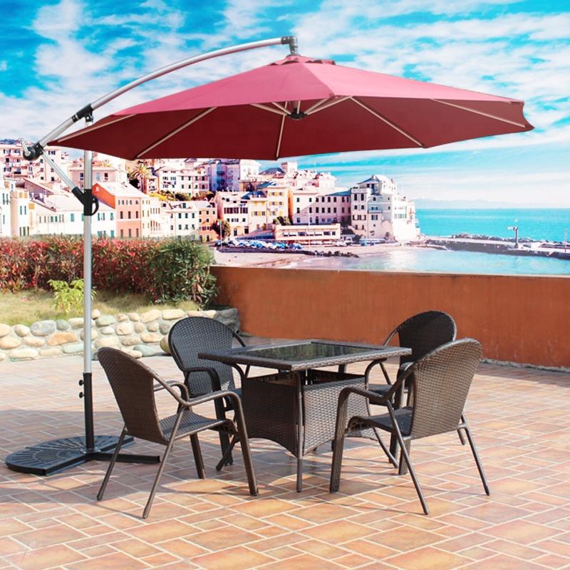 outdoor hanging waterproof banana umbrella cantilever garden beach patio sun canvas folding furniture sets