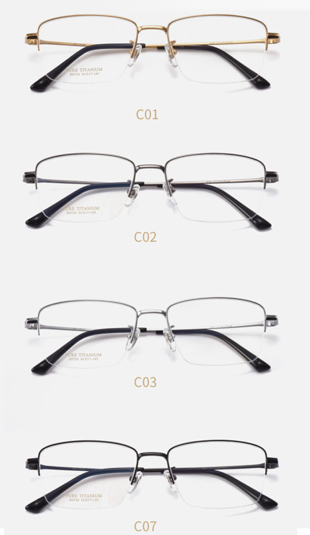 Wholesale pure titanium half rim men's business titanium eyeglasses glasses frame