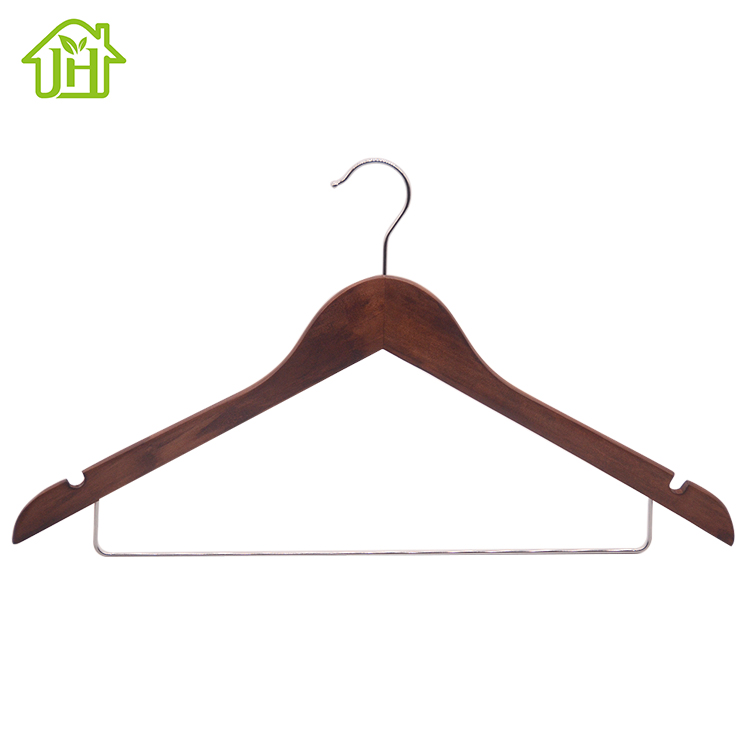 Cheap price factory sale non slip notches wooden coat shirt hanger with metal bar