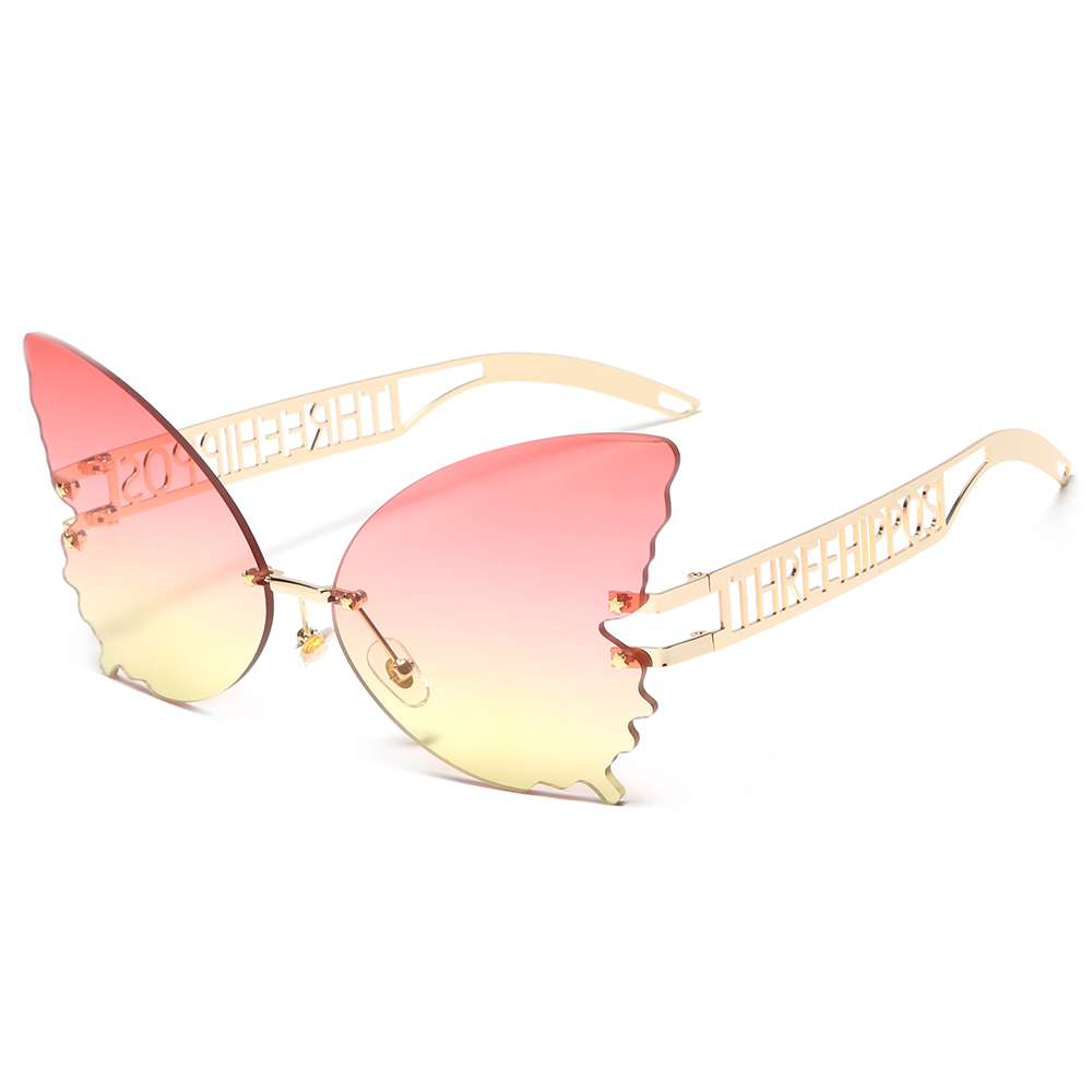 THREE HIPPOS 2020 new arrivals Big Butterfly shaped sunglasses metal framework Rimless Shades Colorful party Sun Glasses, 6 colors