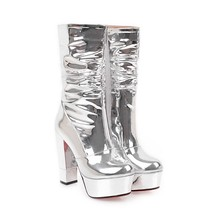 LM4802 European and American stage performance hate high side zipper silver middle leg glitter paint boots