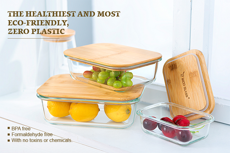 Eco-friendly heat resistant glass food container with bamboo lid