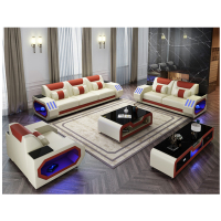 European Design Sofa Furniture Set Real Leather Sofa Living rooms sofas 1 2 3 seats with Led light