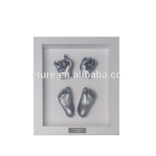 WOWOSS Kit de Marco de Fotos para Manos y Huellas de Beb/é Decoraci/ón o Regalo de Baby Showe Marco de Madera con Almohadilla de Tinta