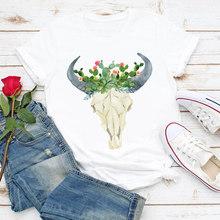 Женская одежда, летняя футболка с коротким рукавом и принтом в виде собак и акварели(China)