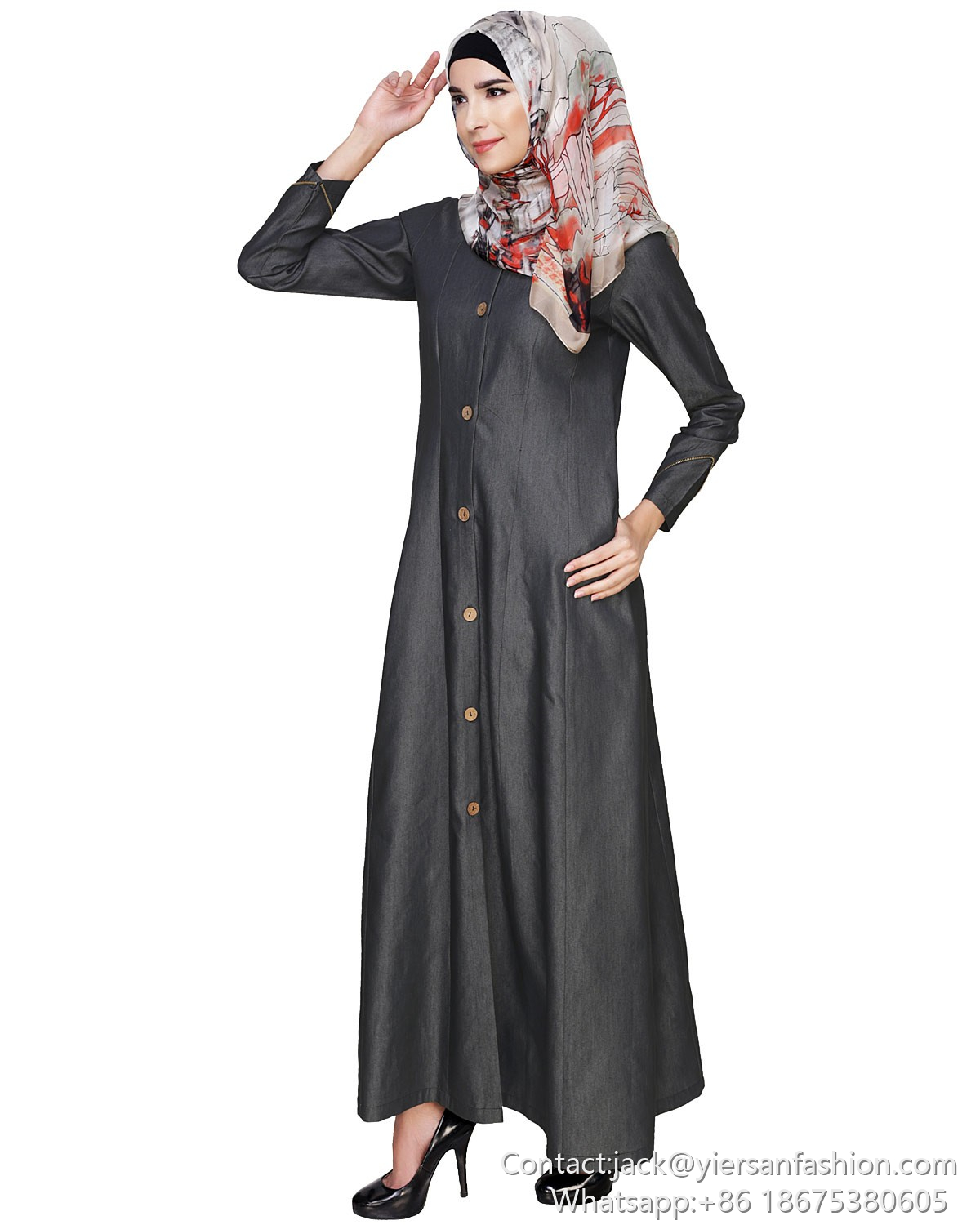 New Model O Neck Single Breasted Long Sleeves Slim Abaya Long Dresses For Muslim Women