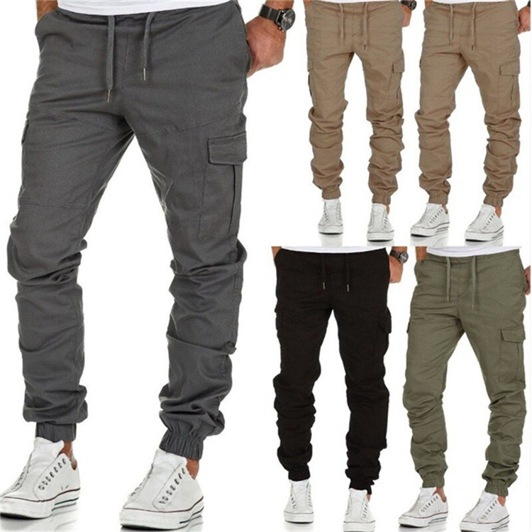 FREE Shipping New Casual Joggers Pants Solid Color Men Cotton Elastic Long Trousers pantalon Military Army Cargo Pant