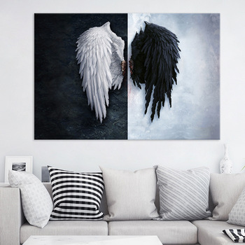 Fashion Poster Pop Art Black and White Angel Wings Canvas Painting for Living Room