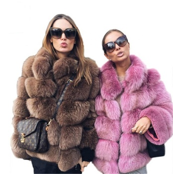 2020 New Arrival Winter Warm Whole Skin Fake Fox Fur Coat Short Style Women Faux Fur Coats Jacket