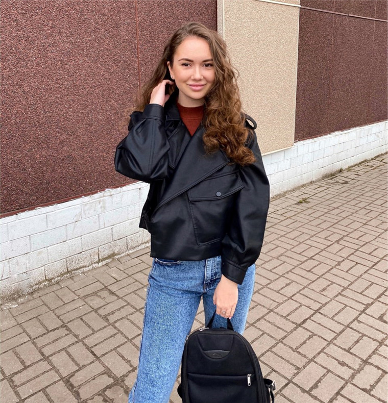 TR149 2020 new arrivals women's personality PU leather jacket  ladies winter causal  jackets women and girls  clothing
