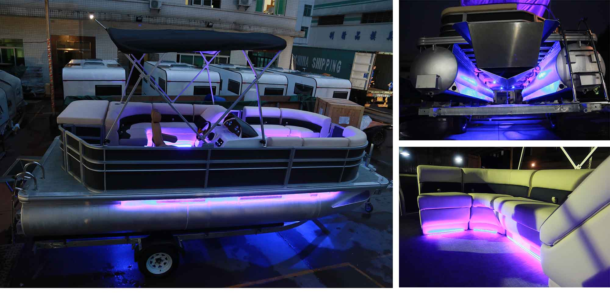 19ft Luxury Aluminium Pontoon Boat for Fishing and Party